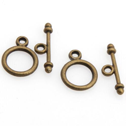 Wholesale 30 Sets Gold//Silver//Bronze//Copper Round Toggle Zinc Alloy Clasps Tone