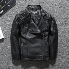 d2411ce43 Boys Girls Biker Jacket Motor Rivet Leather Jacket School Trench Kids Coat  UK