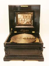 ORIGINAL BLACK POLISHED  DE LUXE POLYPHON 15,5 INCH ANTIQUE DISC MUSIC BOX