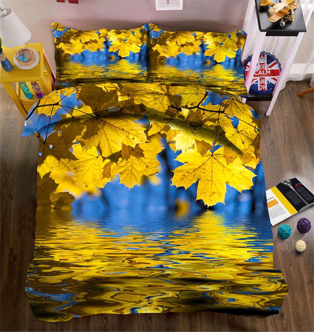 Cool Autumn Leaves 3D Printing Duvet Quilt Doona Covers Pillow Case Bedding Sets