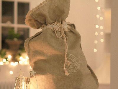 WEDDING STOCKING SACK ADULT FRENCH LINEN FRENCH SHABBY CHIC DRAWSTRING WEDDING