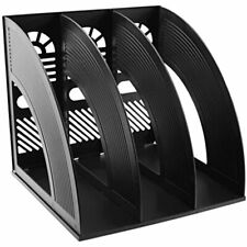 Desk File Organiser Sayeec Sturdy 3 Compartment Magazine Plastic Holders Book