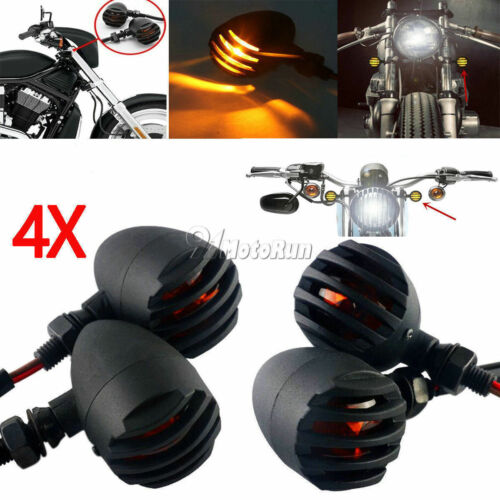 4X Black 12V Turn Signals For Honda Shadow Spirit Aero Ace VT VLX 600 750 1100