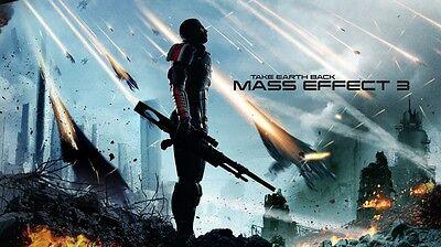 """Mass Effect 2 3 4 Game Silk Cloth Poster 24 x 13"""" Decor 97"""