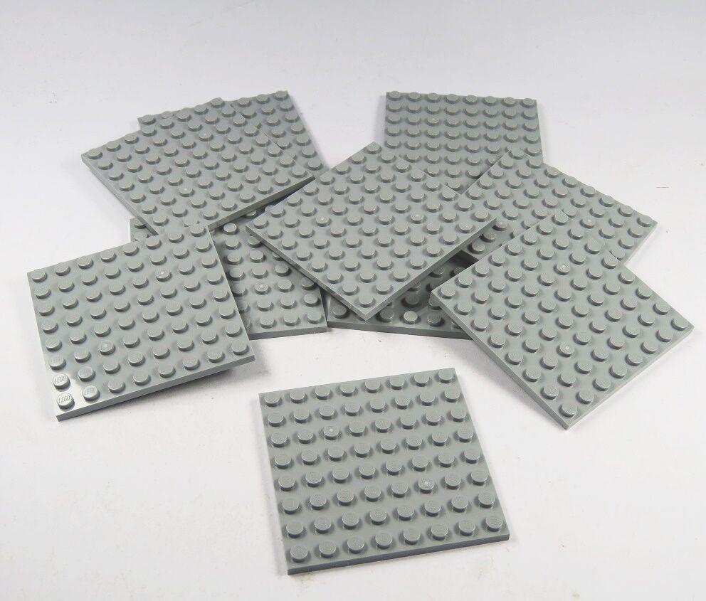 50 x LEGO® Platten 8x8 Noppen hellgrau grau doppelseitig bebaubar