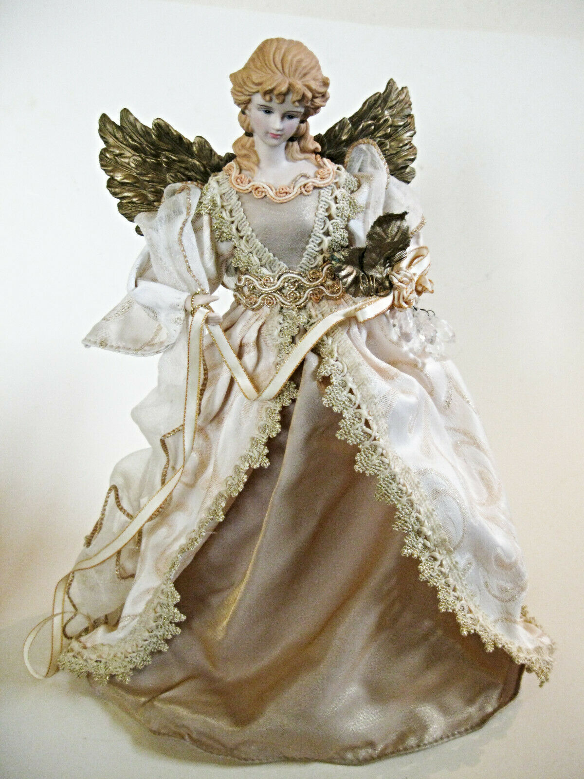 "Silvestri Angel 13"" Tall Beige Fabric Gown With Golden Accents Tree Topper"