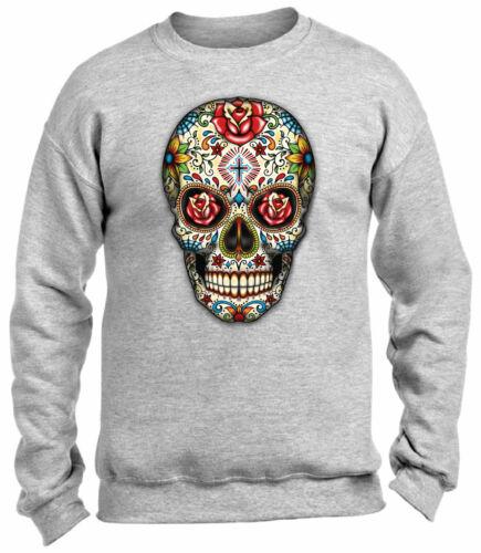 Sugar Skull Crewneck Top Colorful Roses Sweatshirts