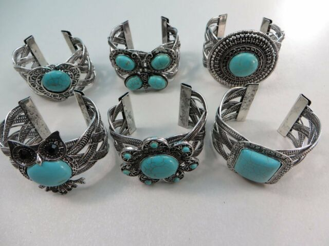 *US Seller*wholesale 10pcs antique vintage style turquoise bangle wide cuff