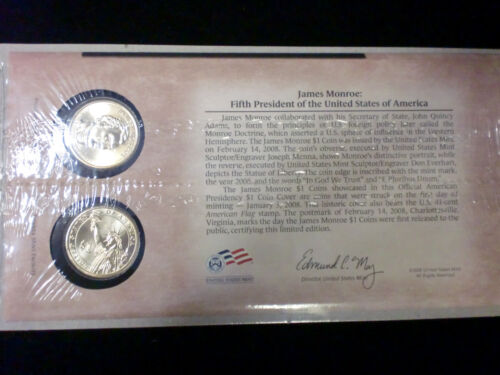 Sealed Cello set P25 SHIPS FREE IN THE USA 2008 JAMES MONROE 1ST Day Cover