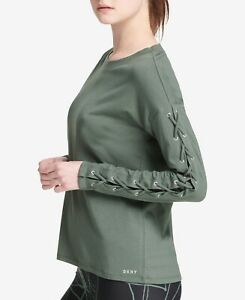 DKNY-Womens-Sport-Long-Lace-Up-Sleeves-T-Shirt-Vine-Size-Small