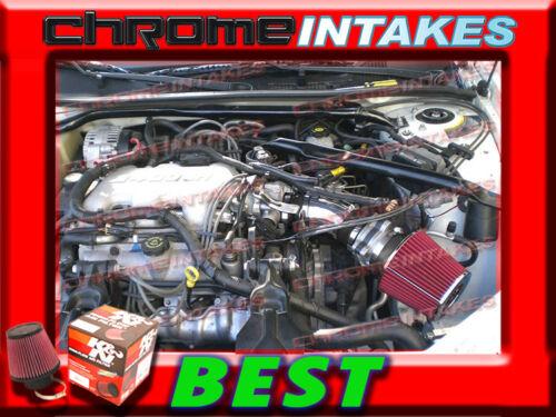 K/&N+BLACK RED 97 98 99 00 01 02-05 BUICK CENTURY 3.1 3.1L V6 AIR INTAKE KIT TB