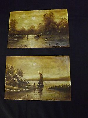 Antique pair of oil on tables landscape scene miniature paintings signed
