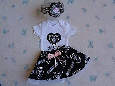 89e81b2a Oakland Raiders Baby Girl Skirt, Personalized Bodysuit and Headband. | eBay