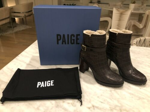 PAIGE NADINE FAUX SHEARLING BOOTIE- SIZE 8- BROWN