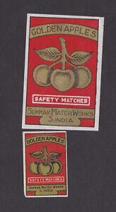 Ancienne-etiquette-allumettes-Inde-BN78560-Trois-pommes