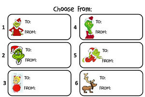 Christmas Name Tags.Details About How The Grinch Stole Christmas To From Gift Tags Present Name Stickers Labels