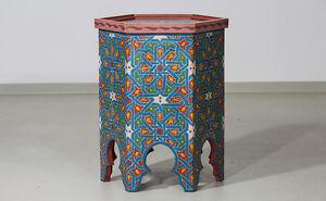 beistelltisch holz orientalisch marokko bemalt arabisch blau rot 6, Moderne