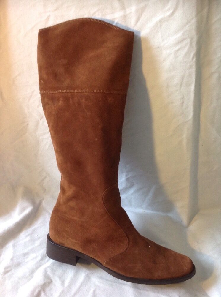 100 DONNA Brown Knee High Suede Boots Size 37