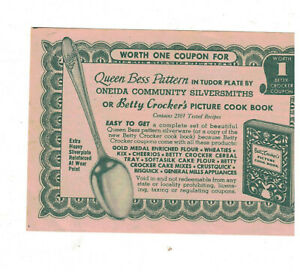 1950s-Betty-Crocker-Coupon-Betty-Crocker-Cookbook-or-Queen-Bess-Oneida-Flatware