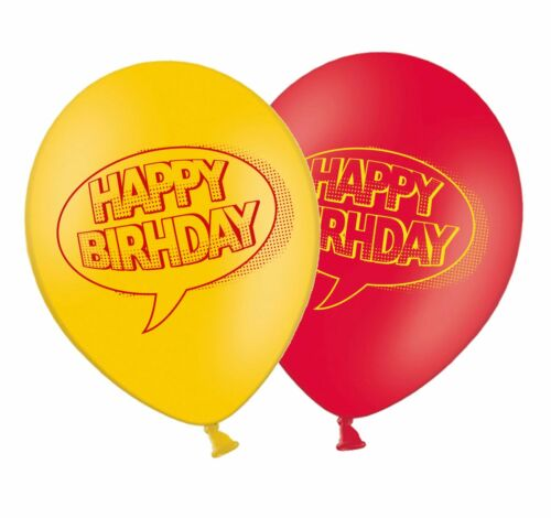 "Superhero Happy Birthday 12/"" Latex Balloons Red /& Yellow mix 12ct by Party Decor"