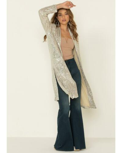 L4397 By Together Women/'s Silver Sequins Duster