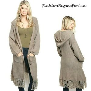 Haute BOHO Oversized Hooded Hippie Fringed Maxi Open Sweater Cardigan S M L XL