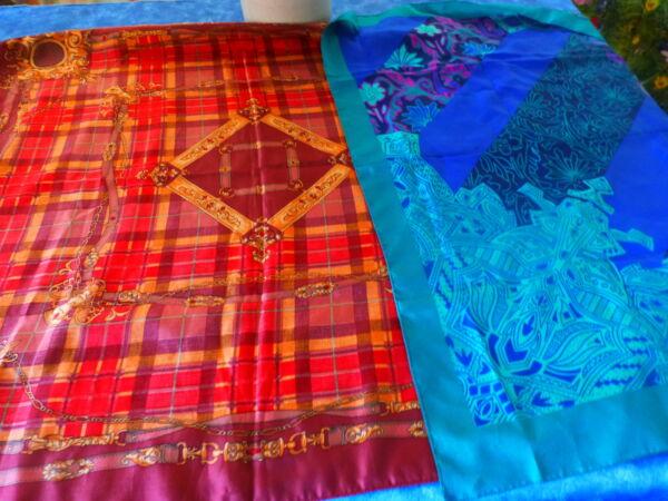 100% De Calidad Lot= 2 Beaux Et Grands Foulards Vintage Rouge Et Bleu 79x79cm Tecnicas Modernas