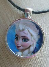 """ELSA"" Disney's Frozen Glass Pendant with Leather Necklace"
