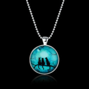 3-Black-Cats-Full-Moon-Cabochon-Tibet-Silver-18-034-Chain-Necklace-Gift