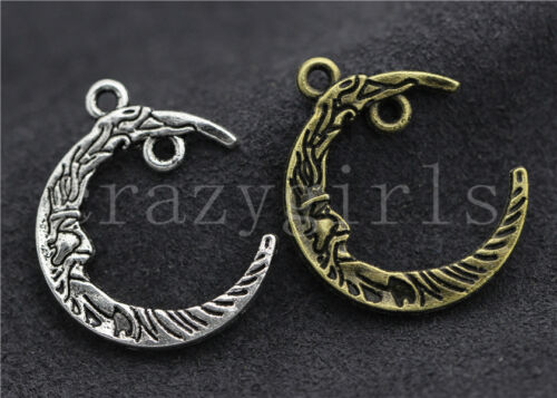 8//30//150pcs Antique Silver Exquisite two-sided Moon Charms pendant DIY 26x21mm