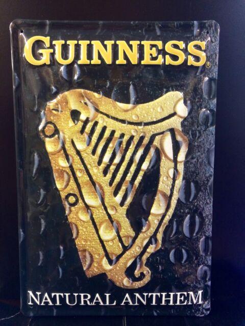 GUINNESS Natural Anthem Vtg Metal Pub Sign 3D Embossed Steel Bar Decor,Irish