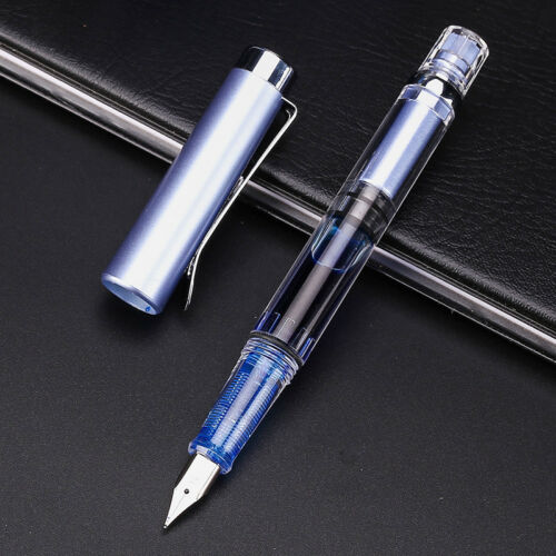 Wing Sung 3008 Transparent Fountain Pen Silver Version Extra Fine Nib 9 Colors A