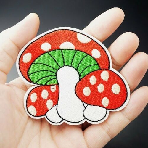 Woven IRON-ON PATCH Sew Embroidery Applique Fashion Badge RED MAGIC MUSHROOMS
