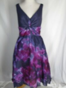 NWT-Neiman-Marcus-Lela-Rose-for-Target-Water-Color-Dress-10-Purple-Black-NEW