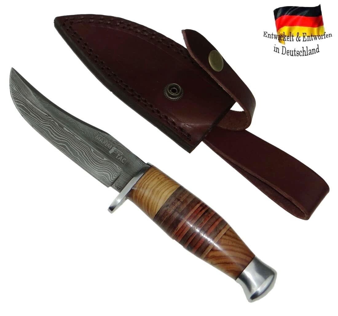 XL Damastmesser 235mm Damast Damaszener Jagdmesser Olivenholz in Lederschnur