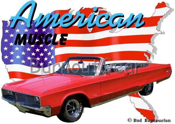 1968 ROT Chrysler Convertible Custom Hot Rod USA T-Shirt 68 Muscle Car Tees