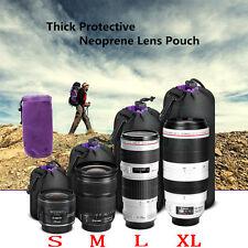 4PCS Neoprene Soft Protector Lens Pouch Case Bag S M L XL Set for DSLR Camera UK