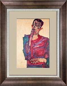 Egon Schiele Limited Edition Lithograph | Self Portrait | SIGN w/Frame Included