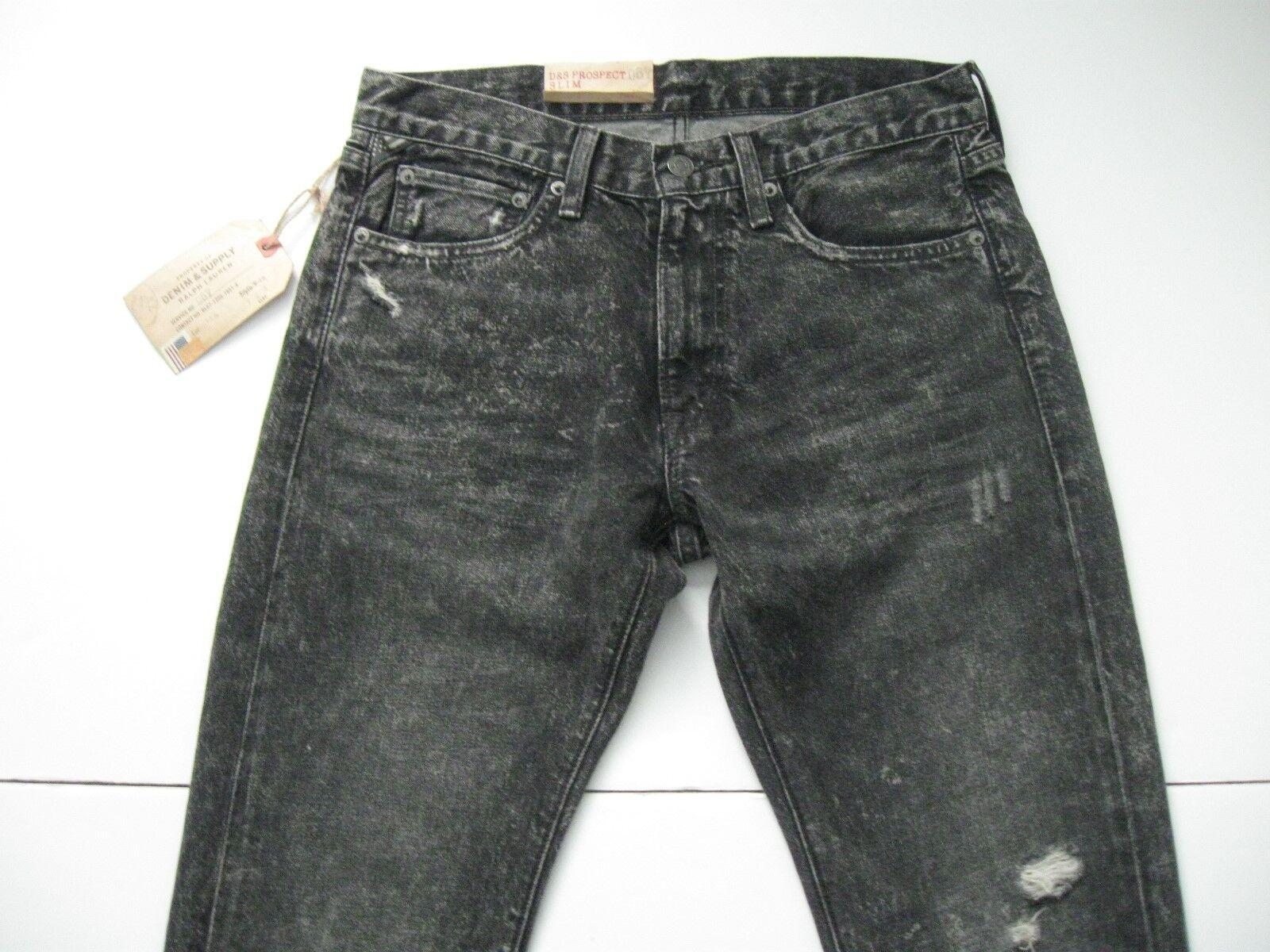 DENIM & SUPPLY RALPH LAUREN Men's Slim-Fit Acid Grey-Wash Ripped Jeans 30x32