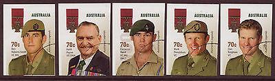 AUSTRALIA 2015 AUSTRALIA LEGENDS THE VICTORIA CROSS SELF/ADH. SET OF 5 FINE USED
