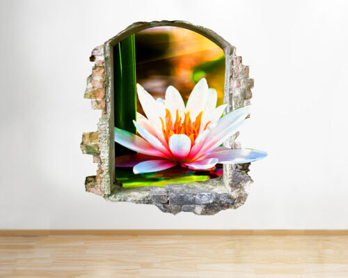 Q265w Flower Lily Pond Pink Nature Window Wall Decal 3D Art Stickers Vinyl Room