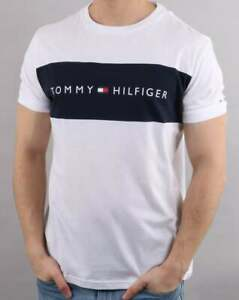 63c38b716 Tommy Hilfiger Chest Band T Shirt in White & Navy - short sleeve ...