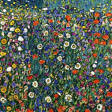 """GUSTAV KLIMT : POPPY BLUEBELL DAISY HAREBELL FLOWERS : 24"""" CANVAS FINE ART PRINT"""