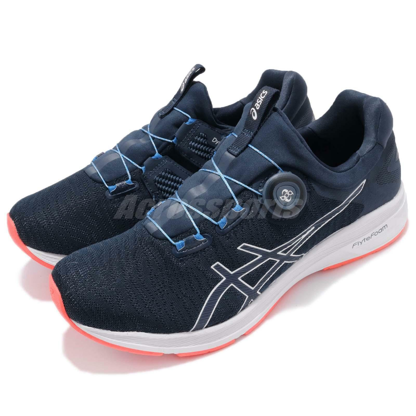 Asics Dynamis Boa Dark Laceless blueee White Navy Men Running shoes T7D1N-4901