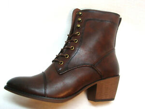 Boots-Womens-Granny-style-lace-up-zipper-faux-vegan-leather-sizes-7-to-11-Brown