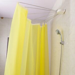Image Is Loading Foldable Shower Curtain Rod Rail Fan Shaped Stainless