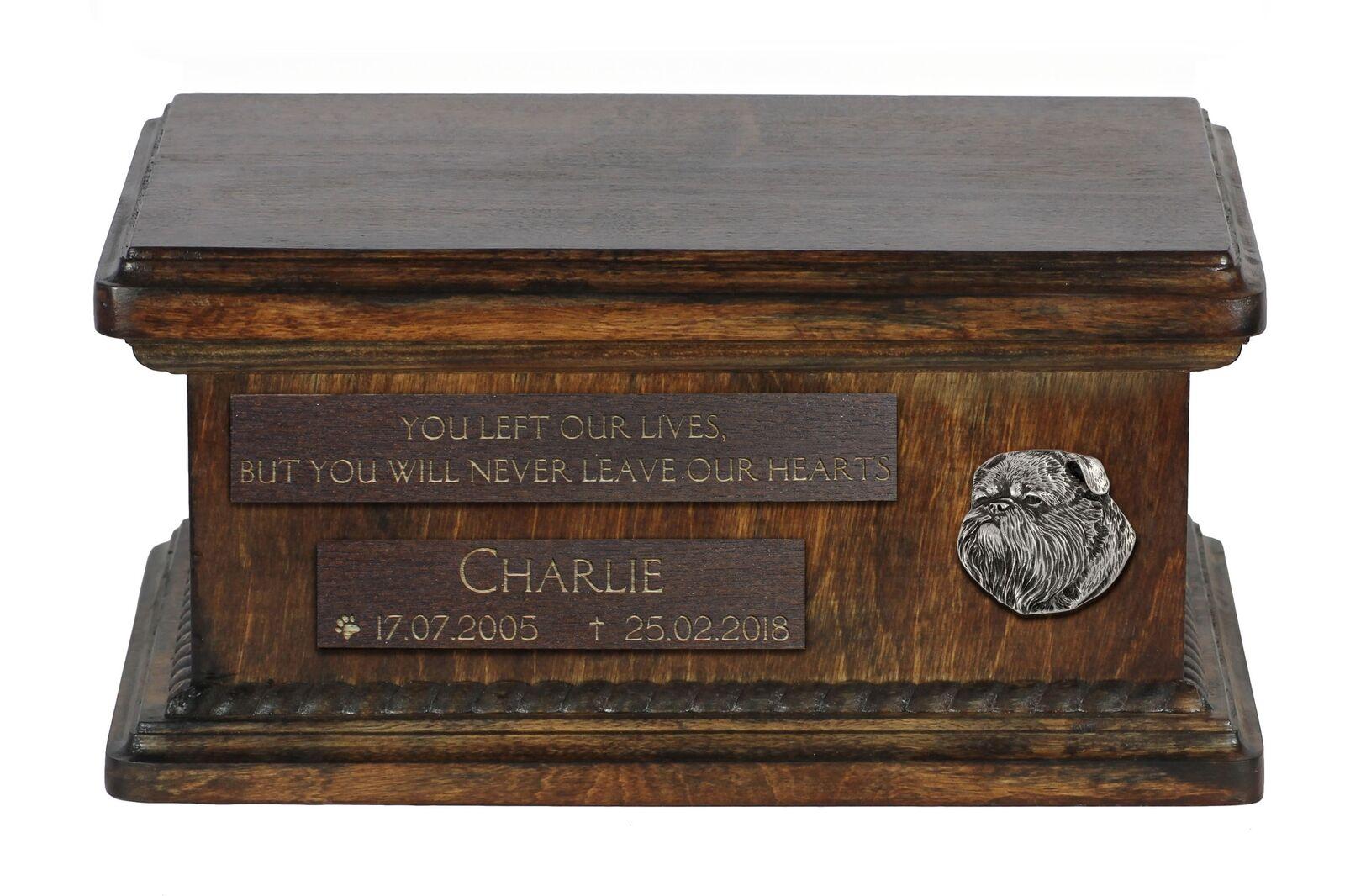 Brussels Griffon - wooden urn for dog's ashes, low model, Art Dog