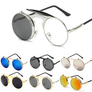 5b6194e8e4981 Men Women Steampunk Goggles Vintage Round Metal Flip Up Lens Sunglasses  Eyewear