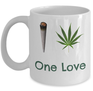 718d5a214c4 Details about WEED coffee mug - One plant one love reefer leaf stoner -  Cannabis themed gifts