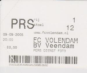 Sammler Used Ticket / Entrada FC Volendam v BV Veendam 09-09-2005 - Zeist, Nederland - Staat: Nieuw: Overige (zie details) : Een nieuw, ongebruikt object zonder enige slijtage. De oorspronkelijke verpakking kan ontbreken of de oorspronkelijke verpakking is geopend of niet meer verzegeld. Een nieuw object met een fabrieksf - Zeist, Nederland